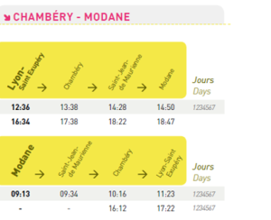 horaires de train aéroport de Lyon - Maurienne