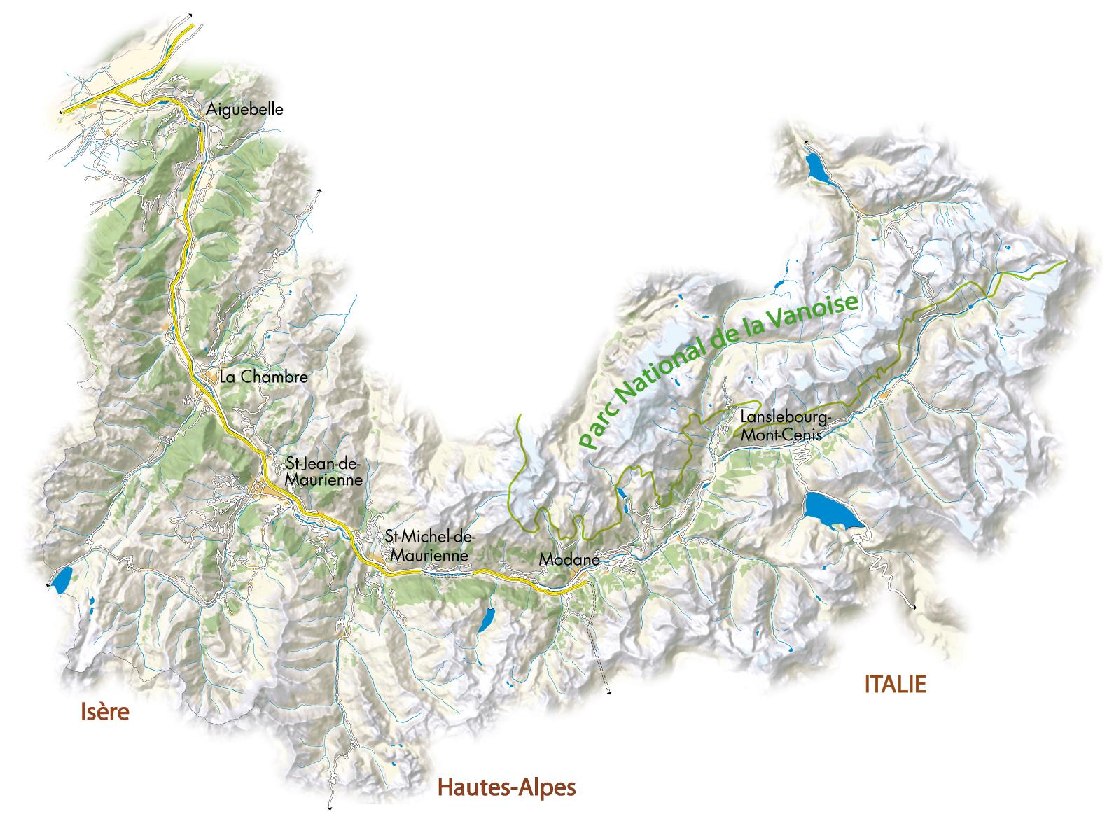 Vall e de la maurienne carte g ographique carte 2018 - St michel de maurienne office du tourisme ...